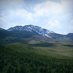 Spring Landscape is a 16 Square Kilometers landscape, taking you right into the middle of a green land surrounded by mountains with snowy tops where you can walk on the lower parts or go high into the mountains!