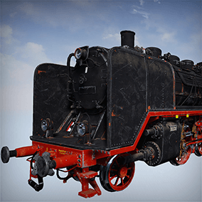 An old German steam locomotive based on the DRG class 24. The model is fully textured and the rod mechanism is animated.