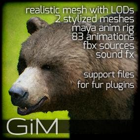 Animals - Bear is a pack of game AI ready animal animations, meshes, sound fx, maya animation rig and support files for fur plugins.