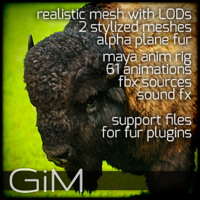 Animals - Buffalo is a pack of game AI ready animal animations, meshes, sound fx, maya animation rig and support files for fur plugins.