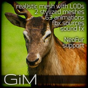 Animals - Deer is a pack of game AI ready animal animations, meshes, sound fx, maya animation rig and support files for fur plugins.