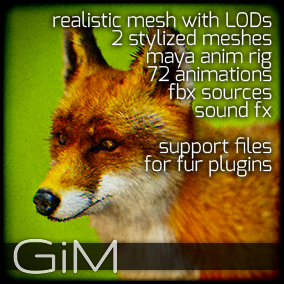 Animals - Fox is a pack of game AI ready animal animations, meshes, sound fx, maya animation rig and support files for fur plugins.