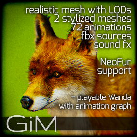 Animals: Fox is a pack of game AI ready animal animations, meshes and sound fx.