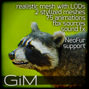 Animals: Raccoon is a pack of game AI ready animal animations, meshes and sound fx.