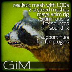 Animals - Raccoon is a pack of game AI ready animal animations, meshes, sound fx, maya animation rig and support files for fur plugins.