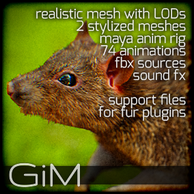 Animals - Rat is a pack of game AI ready animal animations, meshes, sound fx, maya animation rig and support files for fur plugins.