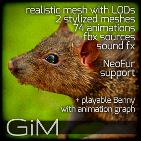 Animals: Rat is a pack of game AI ready animal animations, meshes and sound fx.