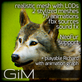 Animals: Wolf is a pack of game AI ready animal animations, meshes and sound fx.