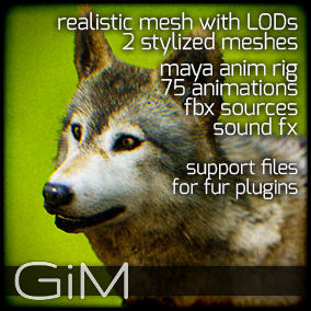 Animals - Wolf is a pack of game AI ready animal animations, meshes, sound fx, maya animation rig and support files for fur plugins.