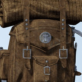 High quality old backpack and survival tools. Excellent for medieval, survival, fantasy games