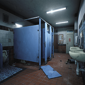 A School Restroom at night. About 460 assets for your games.