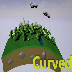 Curved Shader is a set of Vertex Shader functions nodes that allow to change the curvature on a mesh using the World Position Offset.