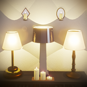 This is a set of lights and candles for game decor and architectural visualization.