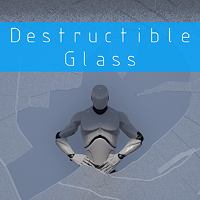 Destructible glass with 100 unique points of impact so when you shoot the glass, it fractures from where it is hit. Very efficient and perfect for VR.