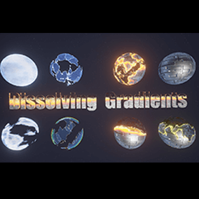 Create Dissolving or blending materials from these master material templates. Include any color you wish to the dissolving gradient by changing the parameters on the fly. Examples include melting metal, corrosive acid, dissolving Water/Bubbles, etc.
