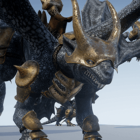 Low polygonal game ready animated model of dragon. Can be used as mount for game characters.