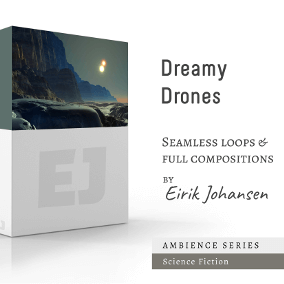 """Dreamy Drones"" consists of 5 ambient and hypnotizing tracks (both loopeable and with endings). Perfect for games in the Sci-Fi genre!"