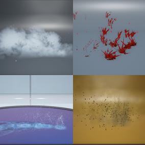 Bullet impact particle systems and Demo room on how to apply them.