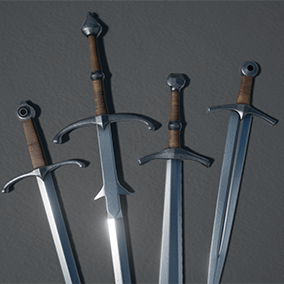 Four types of medieval swords and scabbards.