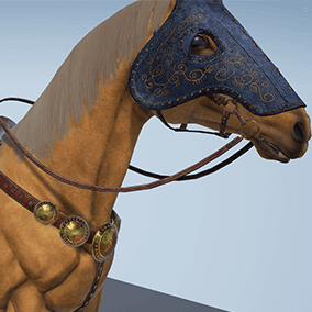 "Animated battle horse in light armor. Prefect for FPS and third person games. 3 different armors (""Light"", ""Hell knight"" and ""Poor"") included."