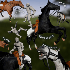 Whistle to call a horse into your game to kick, bite and throw off the players. Riding, feeding, mounting.