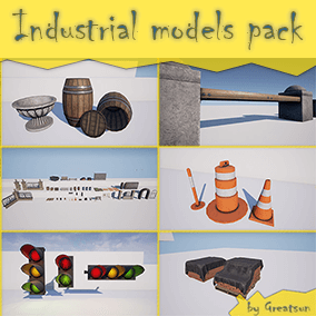 Set consisting of a high-quality 3D models 53 and high-resolution textures. Industrial props, road props, fences, etc.
