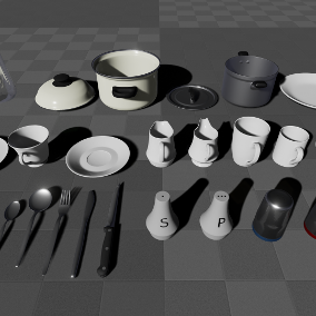 A collection of 29 cookware, cutlery and tableware props, with materials, used in the kitchen.