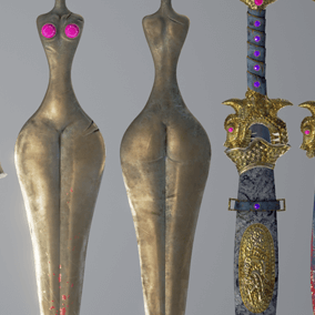 Every sword have additional material with blood on sword's blade. 