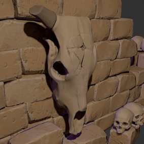 Create your own personal hell using these crumbling walls, piles of rubble and skeletal remains.