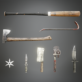 High quality photo-realistic Melee Weapons. Perfect for Zombie, Survival, Adventure, Action, Combat games.  ✔ Optimized for First / Third Person ✔ LOD ✔ PBR Textures / Materials | Wrench, Bayonet, Axe, Baseball Bat, Cleaver, Crowbar, Throwing Knife & Star