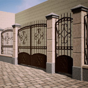 Modular fencing systems with gates and wickets, made in different styles.