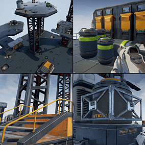 Assets contains pack of models intended to use for building sci-fi space base locations.