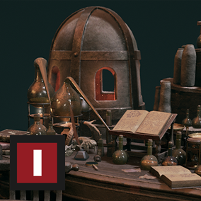 """Medieval Alchemist"" is the newest addition to the ""Old"" series. A collection of alchemy props such as potions, books and powders suited to decorate an Alchemist Dungeon, a Wizard Tower, a Necromancer's grave or even a Mage Laboratory"