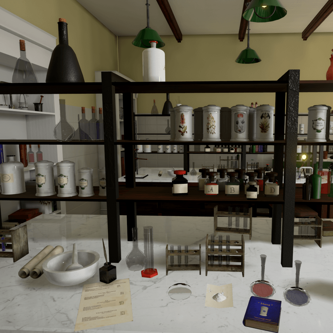 More than 50 different meshes with respective materials for the creation of an old style pharmacist / chemist laboratory updated since last submission.