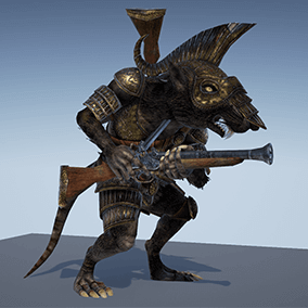 v.2.0  Low polygonal game ready animated model of Ratkin Armored Gunner - ranged and melee unit.