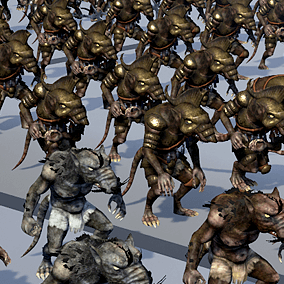 8 animated fantasy characters in one pack. Prefect to create foe NPC fraction. v.2.0 Two more characters was added (Ratkin Marauder and Ratkin Rogue) Skeleton Ratkin was added. Can use any armor, animations and weapon of rest 7 characters.