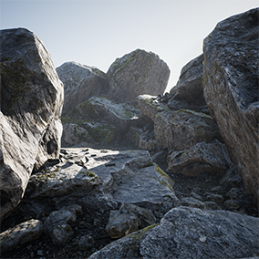 A collection of rocks and boulders from the forest collection mega pack. Large variation of photorealistic rocks and small stones setup for foliage painting.