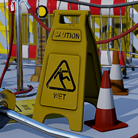 By using Signs and barriers you can easy fill empty surroundings. It make surround more natural a life and more atmospheric. It can make fences, signs and barriers. Set include whole and broken objects variants.