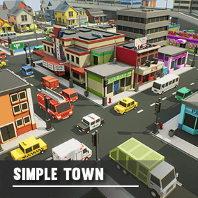 A simple asset pack of vehicles, buildings and props to create an urban city based game.  Modular sections are easy to piece together in a variety of combinations.