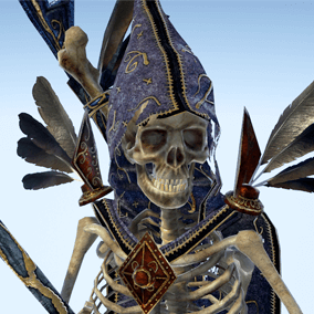 Low polygonal game ready animated model of Skeleton Sorcerer