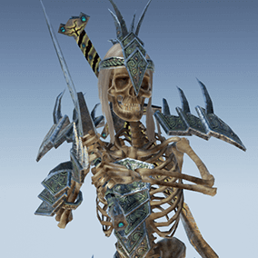 Low polygonal game ready animated model of Skeleton Warlord