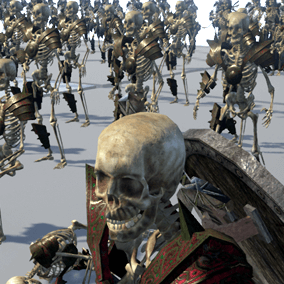 4 Animated skeleton characters and 4 not animated skeletons in poses. Prefect to make evil army for first person and third person games.
