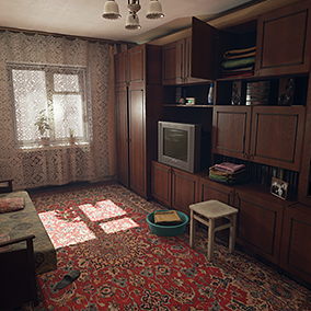 Living room and Bedroom in Post Soviet style inspired by poor and is some ways scary Russian reality.