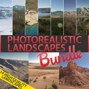 "This bundle included ""Photorealistic Landscape Pack 4"" and ""Photorealistic Landscape Pack 3"". These landscapes, will be eligible for next-gen games. This pack has 14 maps in total."