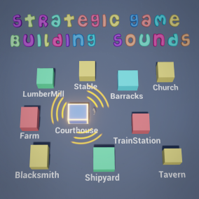 10 carefully prepared sounds representing different types of buildings for strategic type of game.