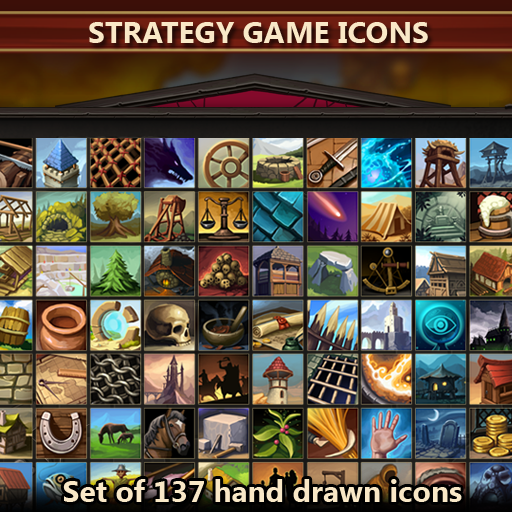 A set of 137 hand drawn strategy game icons.