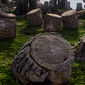 This Stump and Logs Pack is quick and easy way to decorate your project used photo-realistic stumps, logs, trunks, broken fallen trees.
