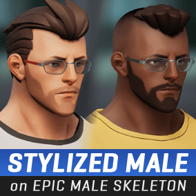 A stylized male character directly compatible with the Epic Male skeleton.