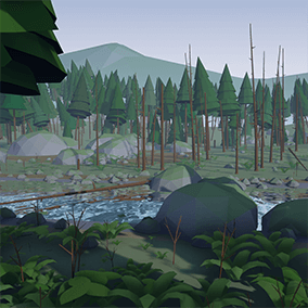 A detailed, yet simple rendition of a classic pine forest