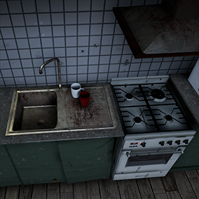 More than 35 different meshes with respective materials to create some sort of survival/post-apocalyptic kitchen.